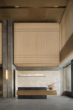hotel lobby E Interior Modern, Japanese Interior Design, Office Interior Design, Interior Architecture, Interior Garden, Office Designs, Home Design, Hotel Lobby Design, Modern Hotel Lobby