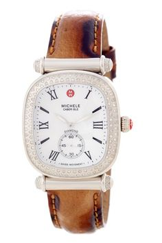 Michele  Women's Caber Isle Diamond Stainless Steel Patent Cheetah Watch  Multi Cheetah print strap…CHic