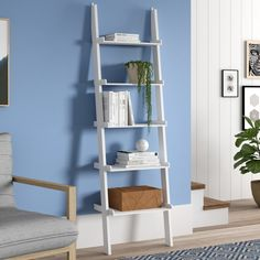 Open Shelving Ladder Unit 5 Level Space Saving Bookcase Display Decor White New Decor, Furniture, Home Office Furniture, Bookshelf Decor, Office Storage Furniture, Home Decor, Contemporary Bookcase, Cube Bookcase, Ladder Bookcase