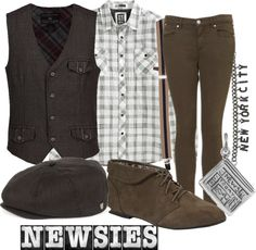 Designer Clothes, Shoes & Bags for Women Newsies Costume, Broadway Costumes, Theatre Nerds, Musical Theatre, Theater, Movie Inspired Outfits, Cosplay Outfits, Character Outfits, Disneybound