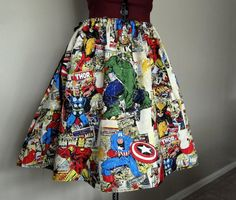 Colorful Avengers Comic Book Superhero Skirt by tintiara on Etsy, $55.00