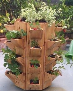 Strawberry Pallet Planter Vertical - What Is It - myhomeorganic - Planters - House Plants Decor, Plant Decor, Garden Crafts, Garden Projects, Vertical Vegetable Gardens, Gutter Garden, Vertical Garden Design, Container Gardening Vegetables, Wood Planters