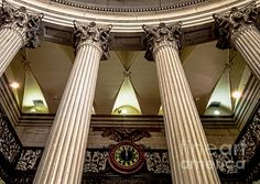 Federal Hall - photograph by James Aiken The classical corinthian columns soar past the clock that spans above the entrance of Federal Hall in New York City Via New York City Hall, Corinthian Columns, Classical Architecture, Art Market, American Artists, Artist At Work, Cool Artwork, Fine Art Photography, Custom Homes