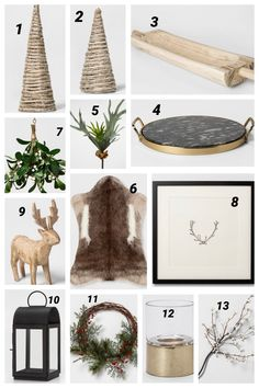 Holiday Decor under $50.  Luxe look for an affordable price.  Favorite Target finds for decorating for the holidays.  Shop the article.  Christmas Decor under $50. Modern Christmas Decor