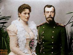 Tsar Nicholas II Romanov of Russia and his wife Tsarina Alexandra Feodorovna.