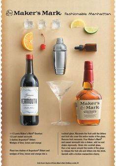 Here you will find recipes for premium whisky and bourbon cocktails. Learn how to make your favorite Maker's Mark cocktail today. Drink Bar, Bar Drinks, Yummy Drinks, Beverages, Cocktail Glass, Cocktail Drinks, Cocktail Recipes, Fancy Drinks, Bourbon Cocktails