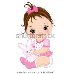 Illustration of Vector cute baby girl with toy bunny. Baby girl vector illustration vector art, clipart and stock vectors. Baby Girl Toys, Cute Baby Girl, Toys For Girls, Cute Babies, Baby Girls, Baby Girl Drawing, Baby Illustration, Girl Illustrations, Art Drawings For Kids