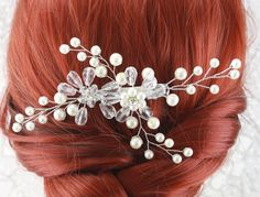 Bridal Hair Comb Wedding Hair Piece Crystal by goddessdesignsgems Bridal Comb, Hair Comb Wedding, Wedding Hair Pieces, Bridal Hair, Wedding Jewelry, Wedding Hairstyles, Fashion Jewelry, Pearls, Crystals
