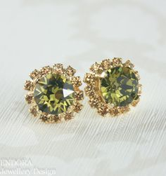 Olive green champagne crystal earringsOlive by EndoraJewellery, $30.00