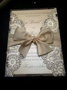 Laser cut metallic wedding invitations tied with satin bow. DEPOSIT Metallic Doilies Wedding Invitation by InvitationsbyErin Silver Wedding Invitations, Wedding Stationary, Wedding Invitation Cards, Wedding Cards, Invitation Suite, Invitation Ideas, Event Invitations, Invitations Online, Invitation Wording