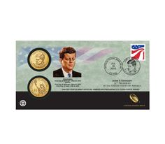 2015 John F. Kennedy One Dollar Coin Cover -special set 2 coins P&D with stamp