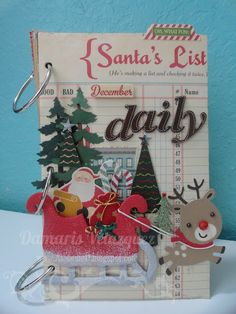 December Daily using October Afternoon Holiday Style. 15 prizes to giveaway. come join the fun! Ends Christmas Mini Albums, Christmas Journal, Christmas Scrapbook, Christmas Minis, Christmas In July, Christmas Countdown, Christmas Projects, Vintage Christmas, Christmas Ideas