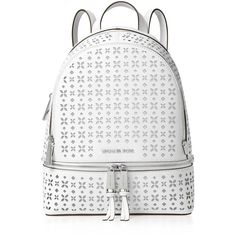 Michael Michael Kors Medium Rhea Perforated Zip Backpack ($345) ❤ liked on Polyvore featuring bags, backpacks, michael michael kors, flower print backpack, white backpack, white floral backpack and real leather backpack