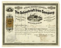 Custom stock certificate stock certificate printing pinterest schoolcraft iron co 1868 issued stock certificate with imprinted 25ct usir revenue marquette ls michigan 50 shares iu black printing with yelopaper