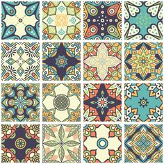 Boho style backgrounds collection Free Vector