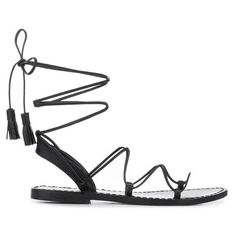 Anine Bing Lace Up Sandals With Tassels In Black (£205) ❤ liked on Polyvore featuring shoes, sandals, black, tie shoes, black tie shoes, narrow shoes, black strap sandals and lace up shoes