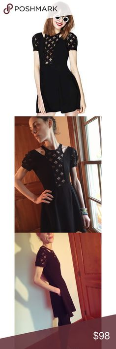 Nastygal Dark Wave Dress LBD size S Worn once. Kickass dress from Nastygal back in the day little black dress 👗. Pockets, lattice lace front, the perfect playful dress. Straggler thread in photo (off sleeve.) Moving so downsizing my closet 😭 only the strong are surviving. Nasty Gal Dresses