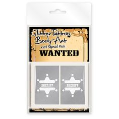 """PERFECT for the """"Tattoo Parlor"""" 24 x Wild Wild West Cowboys and Indians Glitter Tattoo / Body Art Stencils!"""