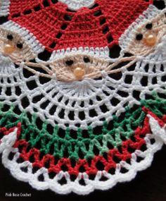 Santa Crochet Doily Centrinho Papai Noel   Pink Rose crochet