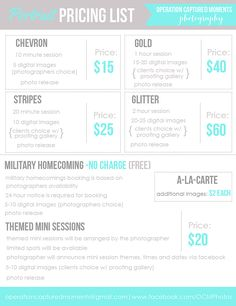 Branding. Photography price list. #operationcapturedmomentsphotography