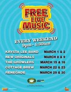 Come down to the Niagara Falls Casino, where there is free live music from March 1st -30th.    visit us at www.bgniagaratours.com