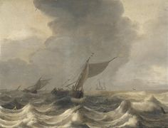 Jan Porcellis - Zeegezicht met kleine schepen in woelige wateren