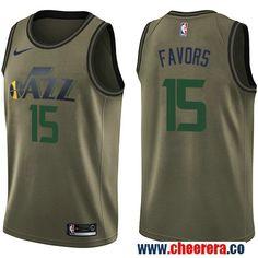 f89b54b77e0 Men s Nike Utah Jazz  15 Derrick Favors Green Salute to Service NBA  Swingman Jersey