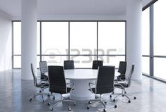 Panoramic conference room in modern office, copy space view from the windows. Black chairs and a white round table. 3D rendering. photo