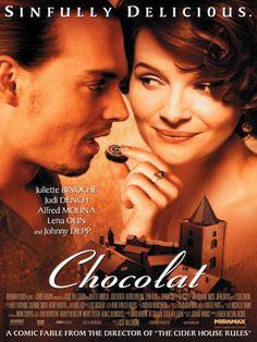 Chocolat es una conocida película protagonizada por Juliete Binoche y Johny Deep. Como su nombre indica, el chocolate está muy presente en toda la película #chocolat #chocolate #película #binoche