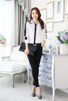 Korean style long sleeve spring tops for women Casual Work Outfits, Classy Outfits, Chic Outfits, Girls Fashion Clothes, Teen Fashion Outfits, Clothes For Women, Iranian Women Fashion, Korean Fashion, Formal Tops For Women