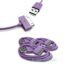 3 PCS USB SYNC DATA POWER CHARGER CABLES APPLE NEW IPAD IPHONE IPOD TOUCH PURPLE