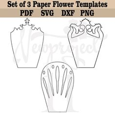 Paper Origami Flowers, Large Paper Flowers, Paper Roses, Small Flowers, Paper Flower Templates Pdf, Paper Flower Patterns, Paper Leaves, Leaf Template, Flower Center