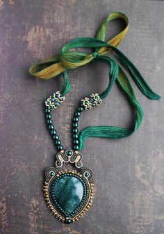 Soutache pendant Green and beige pendant with apatite