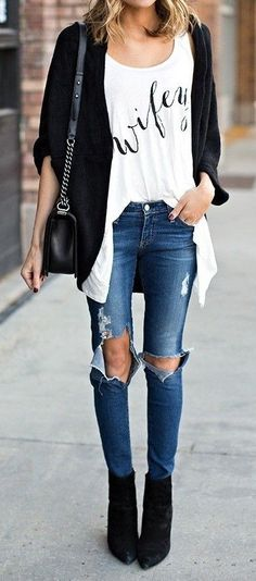 oversized tank top + caardigan + ripped jeans + boots