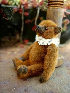 "Stanley, 2 3/4"" Miniature Artist Teddy Bear from Aerlinn Bears"