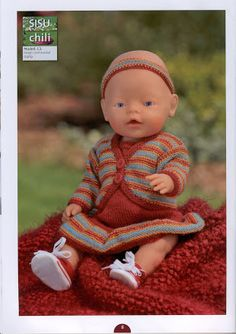 Album Archive - Dukketøj til Baby Born 2 - Ingelise Knitted Doll Patterns, Knitted Dolls, Baby Knitting Patterns, Free Knitting, Knit Crochet, Crochet Hats, Baby Born, Album, Southern Belle
