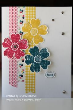 handmade card ... clean design ... three bright strips of washi tape topped with trio of stamped and die cut flowers in matching colors ... spots of bling randomly place ... bright and sunny card! ... Stampin' Up!