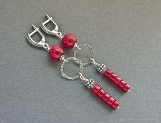 Coral Earrings, Crystal Earrings, Beaded Earrings, Earrings Handmade, Beaded Jewelry, Beaded Bracelets, Wire Jewelry Designs, Jewelry Crafts, Jewelry Art