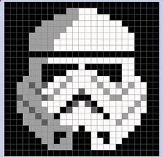 Star Wars Stormtrooper Pixel Blanket - Star Wars Stormtroopers - Ideas of Star Wars Stormtroopers - storm trooper pixel blanket Crochet Squares Afghan, Crochet Granny, Crochet Blanket Patterns, Baby Blanket Crochet, Knit Crochet, Pixel Crochet Blanket, Granny Squares, Knitting Squares, Graph Crochet