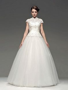 High Neck Tulle Ball Gown with Lace Bodice - USD $250.80