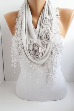 Light+Gray+Cotton+Shawl/+Scarf++Headband+Cowl+with+Lace+by+DIDUCI