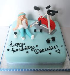Gym themed cake with a spinning bike! Bicycle Cake, Bike Cakes, Fondant Toppers, Fondant Cakes, Fitness Cake, Gymnastics Cakes, Gym Cake, Single Tier Cake, Bolo Fit