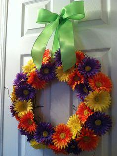 29 Gerber Daisy Wreath Spring Wreath by FromTheCoast2TheCity, $75.00
