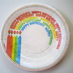 Happy Birthday party plate. #80s #eighties #plate #party #rainbow