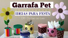 Artesanato com Garrafa Pet - 5 ideias para festa - DIY  Do lixo ao Luxo ...
