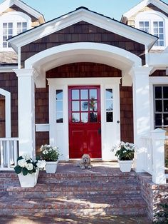Here we go a red front door! I love double doors too!~~White trim and a red front door. Front Door Design, Front Door Colors, Front Entry, Front Doors, Front Porch, Brick Porch, Porch Entry, Brick Walkway, Porch Roof