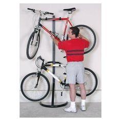 Freestanding Bike Stand Two-Bike Gravity Rack Storage Organizer Garage #Racor #freestandingbikestand