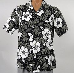 Hawaiian Islands Brand Aloha Shirt Mens L Black Hibiscus Ferns Made in Hawaii