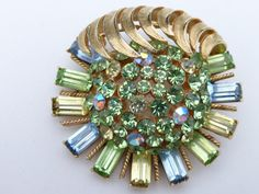 Coro Brooch dimensional gold tone green yellow and blue rhinestones AK01