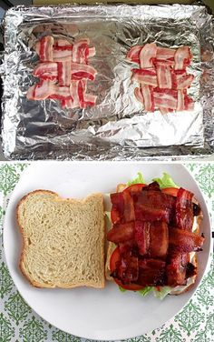 Proper way to make bacon sandwiches - just a pic, but I imagine youd bake it at around 400 for 7-8 minutes, then flip over and bake some more. :) Pretty!!!